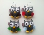 Felt Owl Ornament, Set of 4, MADE TO ORDER, Party Favor