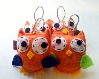 Orange Owl Decor, Bird Ornaments, Eco Friendly Felt, Summer Gift, Party Favor, Woodland Wedding, Gifts for Friends, Nature Decoration