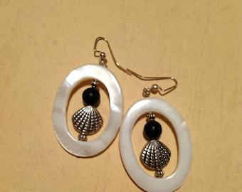 Mother of Pearl Earrings Silver Shell Earrings Shell Donut Earrings Large Earrings