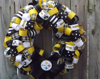 NFL Football Wreath Pittsburgh Steelers or your favorite Team