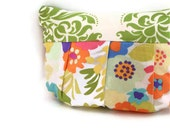 Summer Garden Pleated Zipper Pouch, lined with coordinating fabric