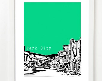 Park City Utah City Art Print - Park City Skyline Poster - Park City Vacation Art