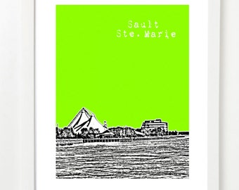 Sault Ste. Marie, Ontario Skyline Art Print - City Series Canada Poster -