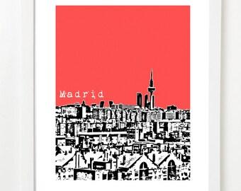 Madrid Skyline Art - Spain City Skyline Series Poster - Madrid, Spain - VERSION 2