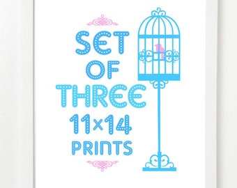 Set of 3 (THREE) 11x14 - Pick Your Prints and Colors - 11x14