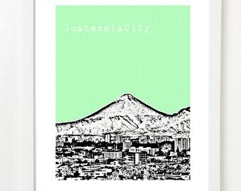 Guatemala City Poster - Guatemala City Skyline Series Art Print - Central America Travel Art