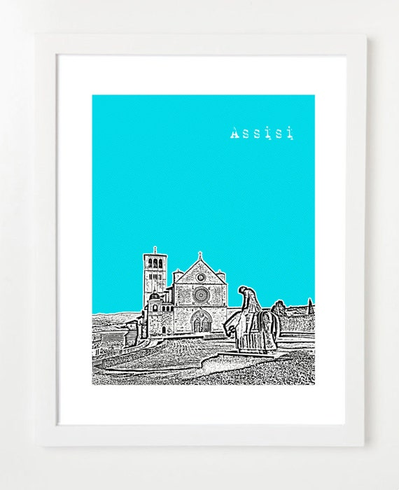 Assisi Italy Poster - Assisi City Skyline Series Art Print - Italy Travel Art