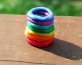 Rainbow dreadlock bead.