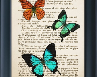 Butterflies, Vintage Book Page Print, Nature Life, Literature Print, Wall Office Decoration, Buy 3 get 1 more for FREE 8.0x5.5in