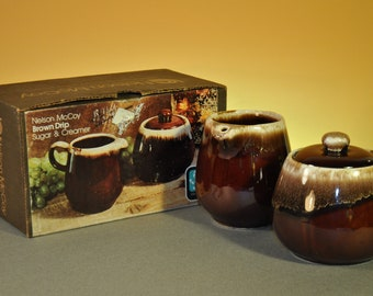 McCoy Vintage Creamer and Sugar Set  in Brown Drip Pattern-1970s-Wonderful Gift for Man-Original Box Included