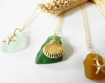 Sea glass and gold charm necklace - sand dollar, scallop shell or starfish