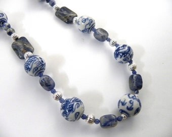 Sodalite and ceramic necklace - blue and white