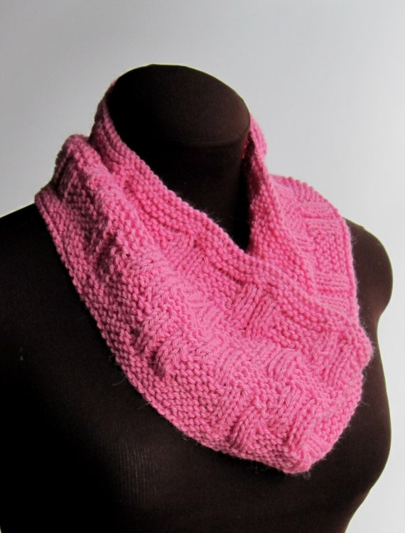 Alpaca Cowl Knitting Pattern : Hot Pink Alpaca & Wool Knit Cowl for Women by kerryblueknits