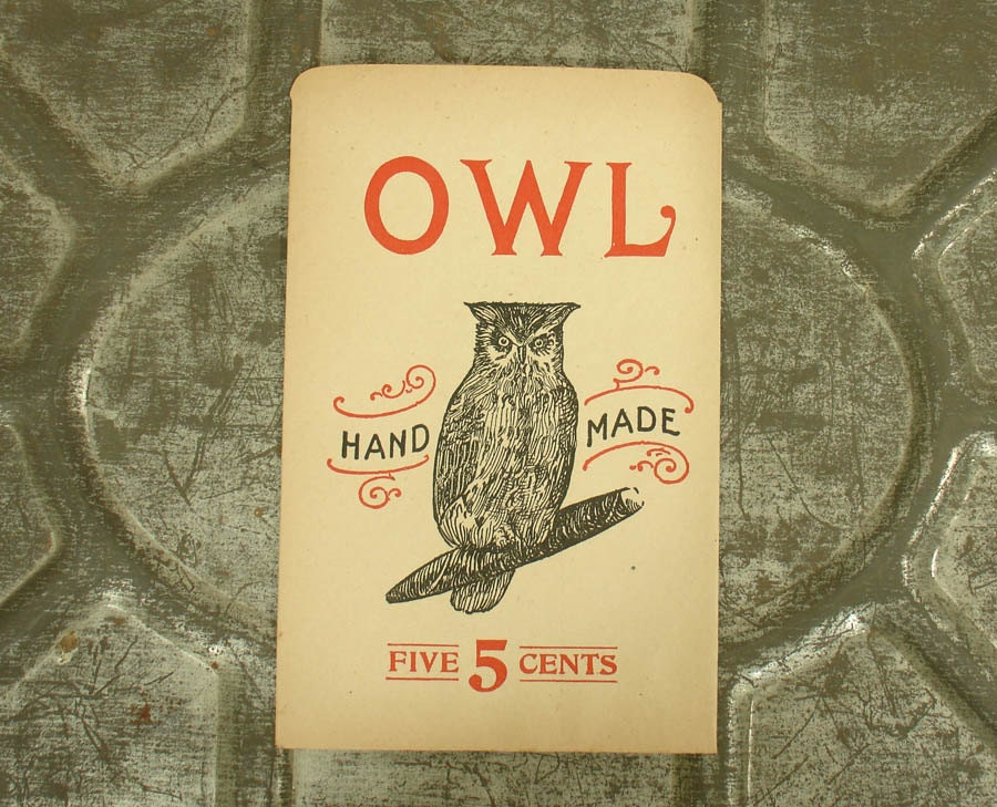 Antique Owl Cigar Advertising Paper Bag Sign From Old General