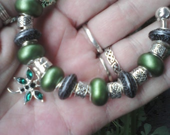 Emerald pearl beads and shades of gray, Euro style bracelet