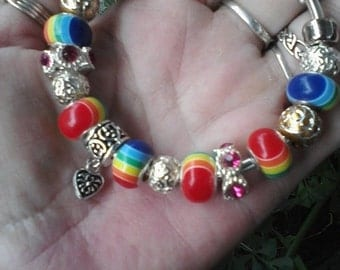 GBTL Rainbow with Crystals and gold, Euro style bracelet
