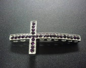 Silver with Purple rhinestone sideways cross