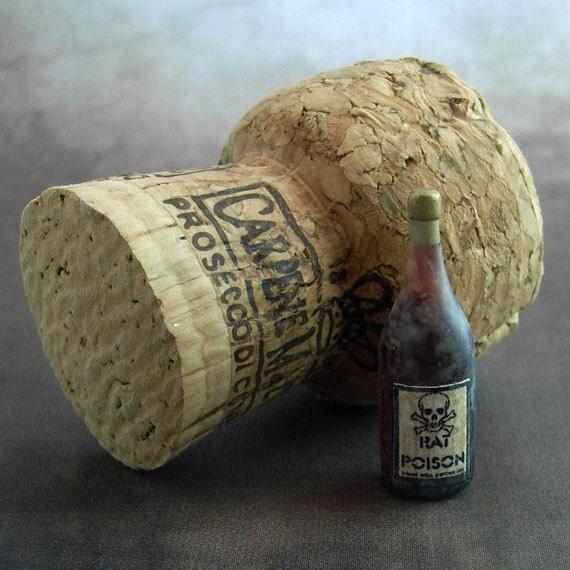 1/12 scale handmade dollhouse miniature Halloween Wine Bottle