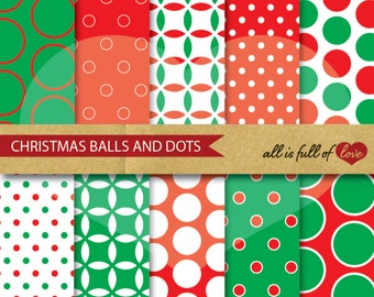 Red Green SCRAPBOOK Patterns CHRISTMAS Digital Paper Pack Polka Dots Backgrounds christmas clip art xmas scrapbooking made in portugal