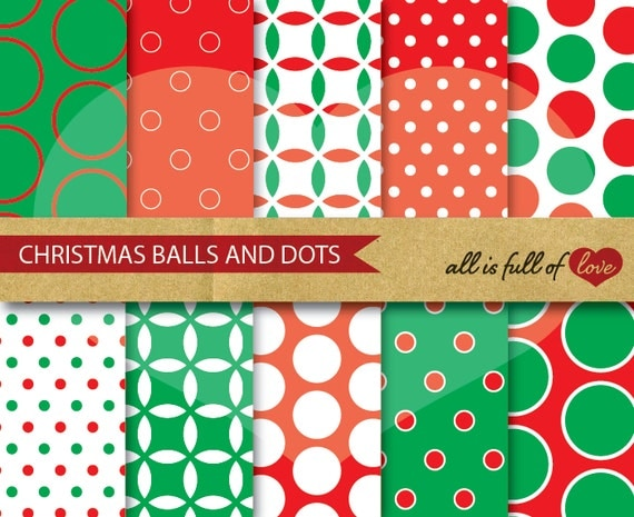 CHRISTMAS Digital Background Paper Pack BALLS DOTS Patterns Red Green