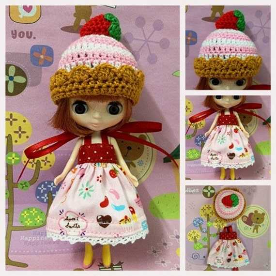 """Petite Blythe / Little Dal Outfit : """"Strawberry Cupcake Mini Set"""" (Dress and Crochet hat)"""