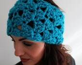 Sky Blue  Head Scarf, Crochet Ear Warmer