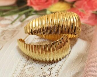 Vinatge Gold Earrings, Vintage Hoops