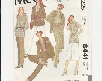 UNCUT Sewing Pattern McCall's 6441 for Jacket, Skirt and Pants, Sz 14, 1970s
