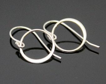 CIRCLE Earrings - STERLING SILVER, Eternity Circle Earrings, Simple Hoop Silver Earrings.