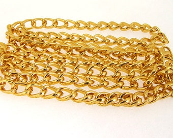 Shiny Twist O Gold Plated Metalic Aluminium Chunky Curb Chain ----- 8mmx 12mm---thickness about 2mm----38""