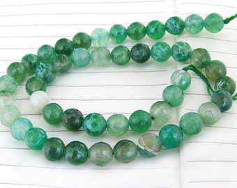 "Big Round Faceted Full Strand Dragon  Green Agate Beads ----- 8mm ----- about 47Pieces ----- gemstone beads--- 14"" in length"