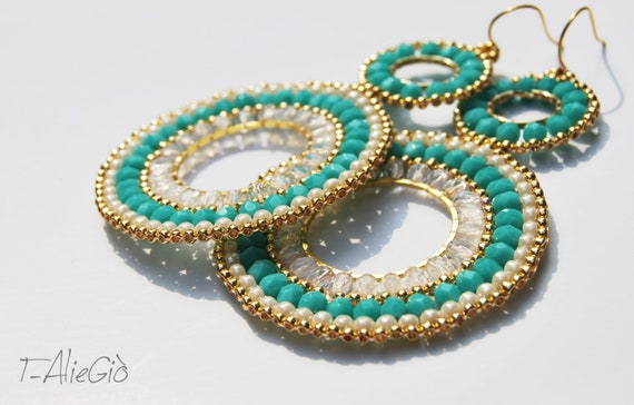 Turquoise and gold beaded hoop earrings  -bohemian earrings- new spring/summer collection