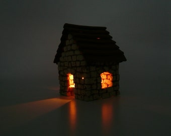 Ceramic Miniature  House, Cottage Brick House, Ceramic Sculpture, Tealight Holder, Shabby Chic, by Eyal Binyamini, StudioLind