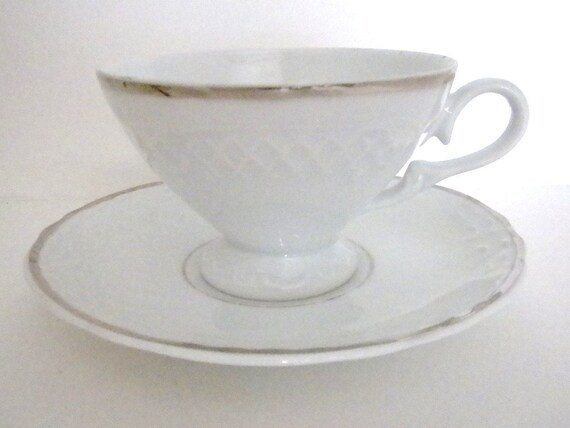 Tea Cup and Saucer, White with Silver Trim SRS, Brazil, Replacement
