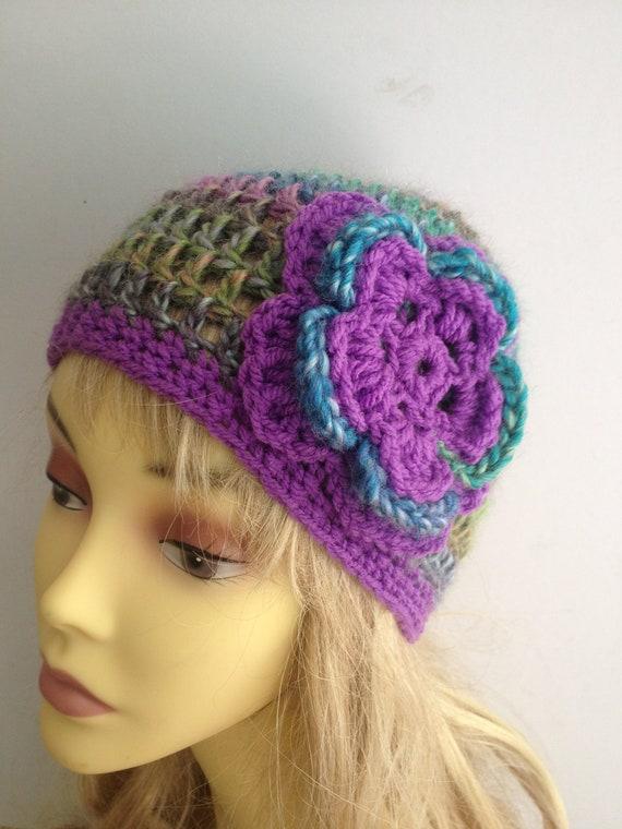 OOAK unique designer womens purple,multicolour beanie,cap,cloche crochet/knitted hat with large crochet flower applique