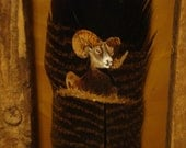 Big Horn Ram  Hand Painted on a Turkey Feather