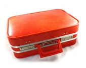 Stunning small ORANGE vintage ladies' small travelling case - suitcase train voyage silhouette luggage mirror
