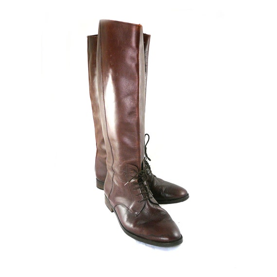 Vintage 1980s Italian Riding Boots - Tall Brown Leather, Laces, Equestrian Size 9.5 M B shoes