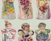 Digital Download Antique 'Six Little Flower Maids' Die Cut Paper Dolls Victorian Scrap Graphic Images