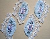 REMNANT - Embroidery Applique, Baby Blue / Ivory, x 2, For Heirloom, Reborn, Dolls, Accessories, Home Decor, Victorian Crafts