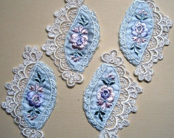 Embroidery Applique, Baby Blue / Ivory, x 4, For Heirloom, Reborn, Dolls, Accessories, Home Decor, Victorian Crafts