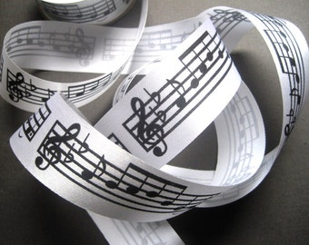 "Sheet Music Ribbon, Black / White, 1 1/2"" inch wide, 1 yard, For Mixed Media, Gifts, Scrapbook, Home Decor, Accessories"