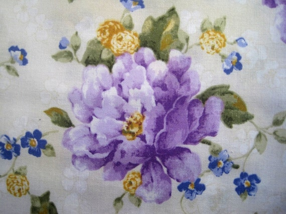 "Violet Flowers Fabric, Fat Quarter, Multicolor / Cream, 18"" X 22"" inches, 100% Cotton, For Victorian & Romantic Projects"