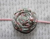 Pink and Gray Fabric Flower Headband, Newborn Headband, Baby Girl Headband, Baby Girl Flower Headband, Photography Prop