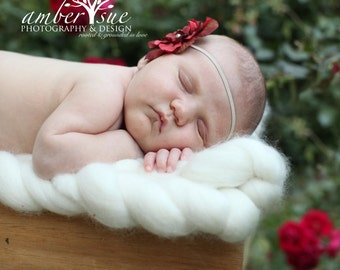 Dusty Red Baby Flower Headband, Baby headband, Newborn Headband, Baby Girl Flower Headband, Photography Prop