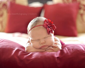 Christmas Red Silk Baby Flower Headband, Newborn Headband, Baby Girl Flower Headband, Photography Prop