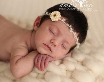 The Lily Tieback Baby Flower Headband, Newborn Headband, Baby Flower Headband, Baby Girl Flower Headband, Photography Prop