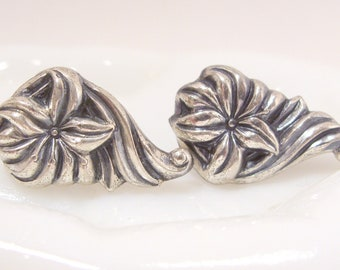 Sterling Silver Flower and Swirl Screw Back Earrings