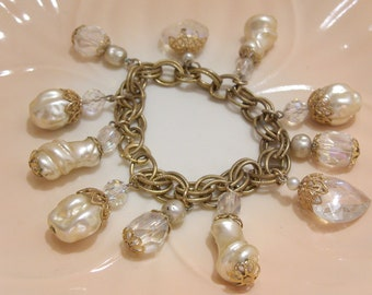 Pearl and Crystal Dangles on a Double Link Gold Tone Chain Bracelet Great for a Bride