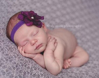 newborn headband..baby girl headband..infant headband..purple headband